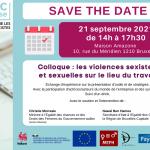SAVE THE DATE : 21/09/21 – Colloque sur les violences sexistes et sexuelles sur le lieu du travail